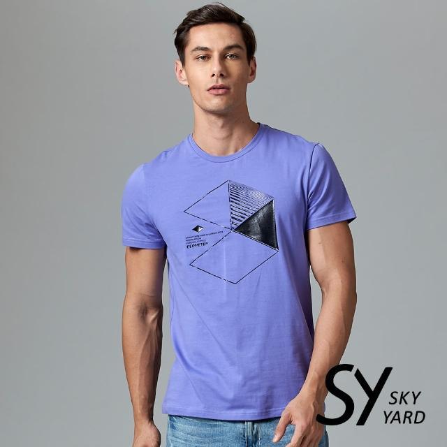 【SKY YARD】短袖圓領六角幾何印花圓領T恤(紫色)