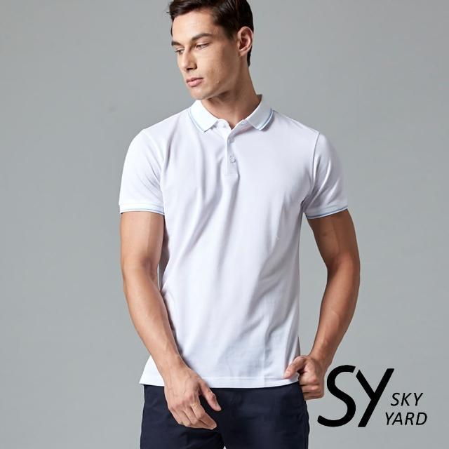 【SKY YARD】素色短袖配條領短袖POLO衫(白色)