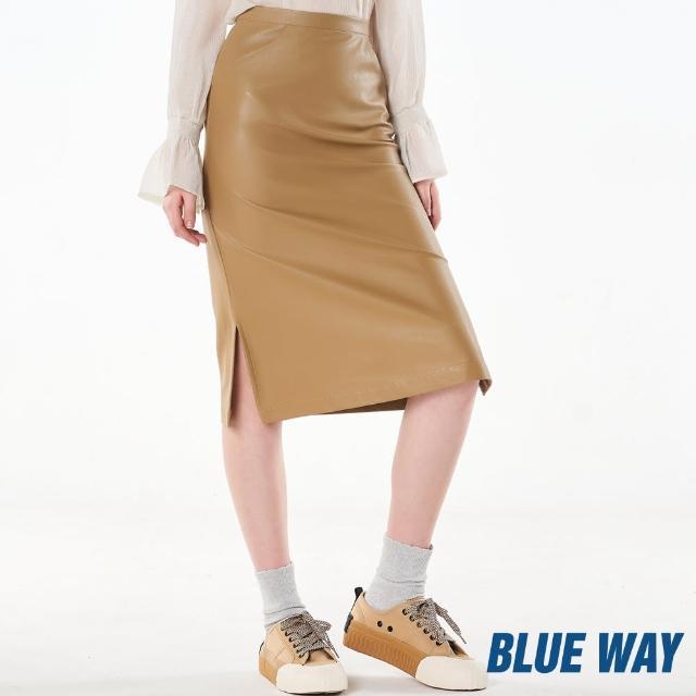 【BLUE WAY】素色質感七分皮裙 -ET BOITE箱子