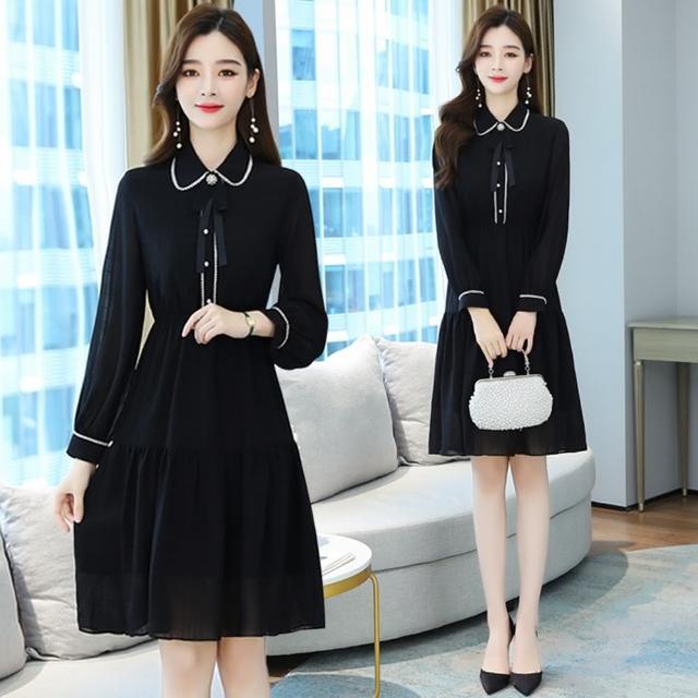 【REKO】甜美優雅黑白邊線拼接裙襬洋裝S-2XL