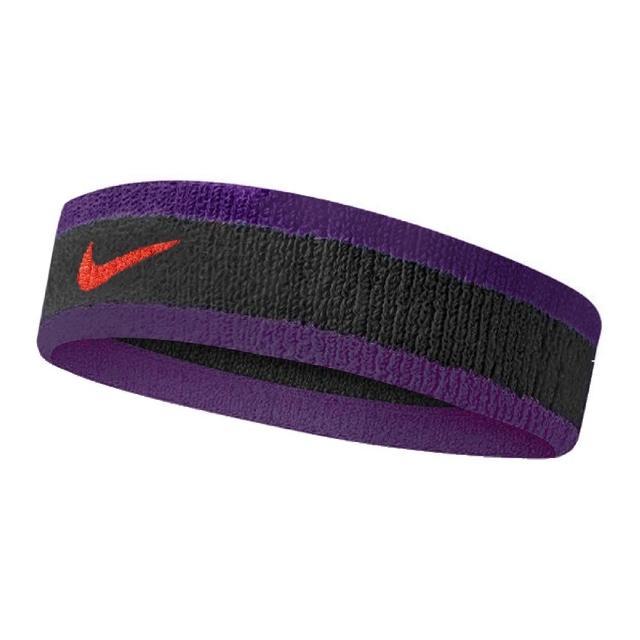 【NIKE 耐吉】頭帶 Swoosh Headband 男女款 運動休閒 吸濕排汗 球類運動 跑步 黑 紫(N000154404-3OS)