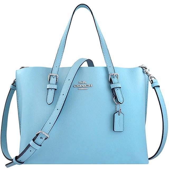 【COACH】荔枝紋皮革手提/斜背兩用包-天空藍色(買就送璀璨水晶觸控筆)