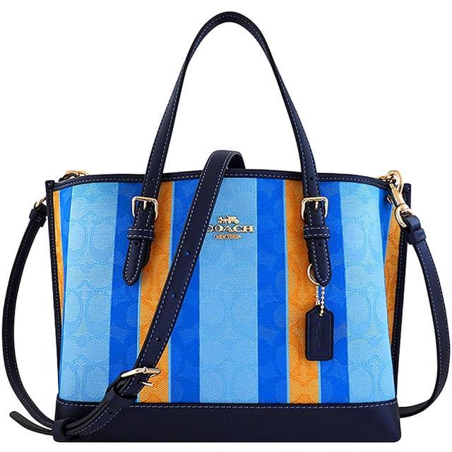【COACH】大C撞色織紋手提/斜背兩用包-藍色(買就送璀璨水晶觸控筆)