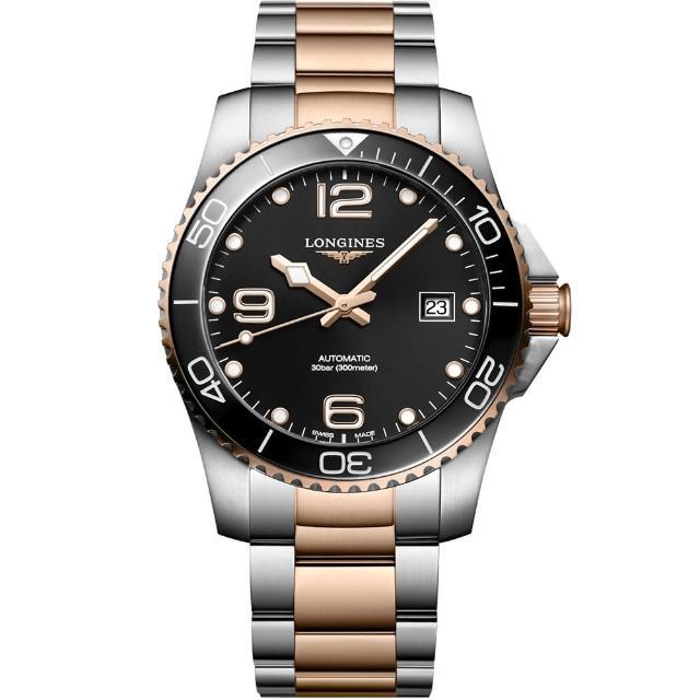 【LONGINES 浪琴】深海征服者浪鬼陶瓷潛水機械錶-黑x玫瑰金/41mm(L37813587)