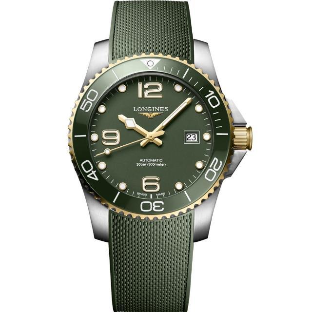 【LONGINES 浪琴】深海征服者浪鬼陶瓷潛水機械錶-綠x金/41mm(L37813069)
