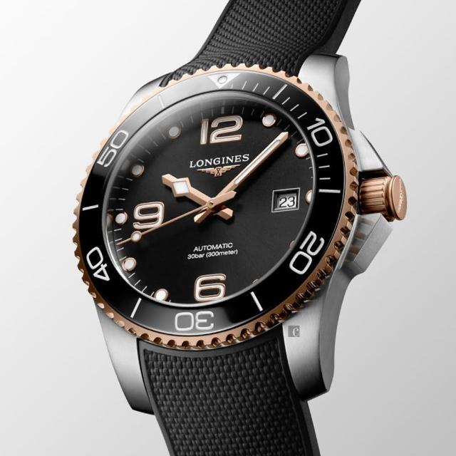 【LONGINES 浪琴】深海征服者浪鬼陶瓷潛水機械錶-黑x玫瑰金/41mm(L37813589)