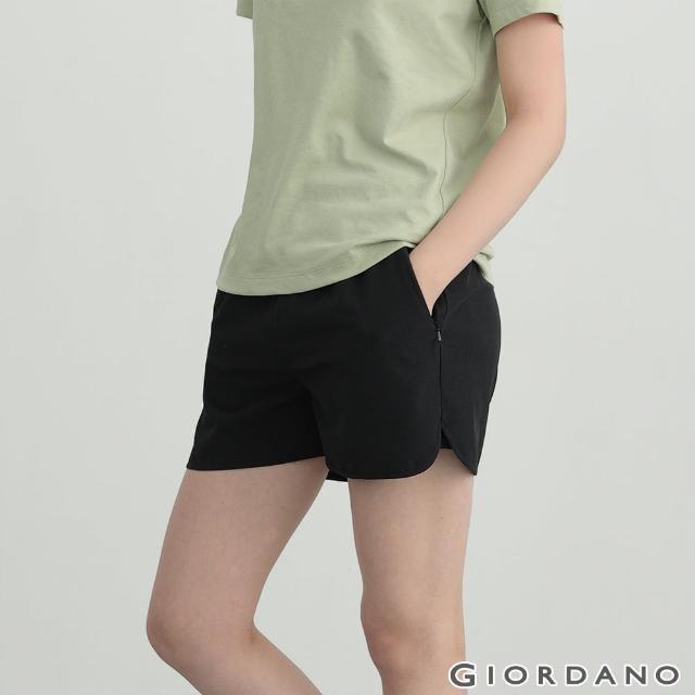 【GIORDANO 佐丹奴】女裝3M抽繩雙層運動短褲(39 標誌黑)