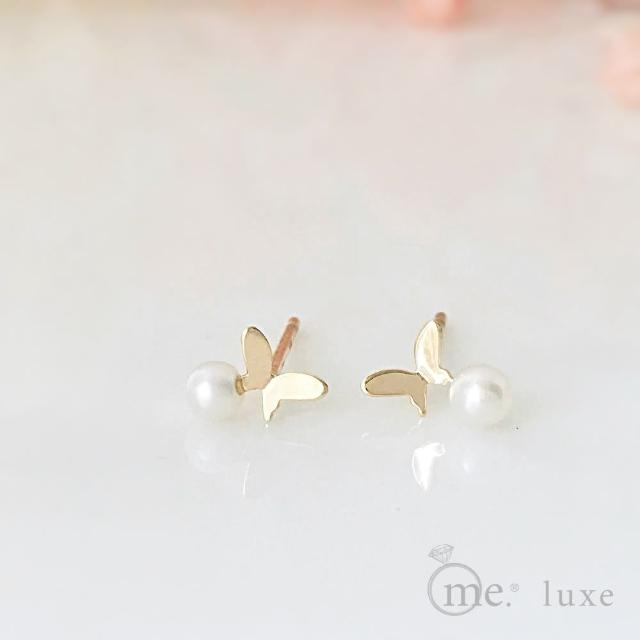 【me.luxe】K10針18珍珠蝴蝶耳環(日本輕珠寶網路銷售NO.1)