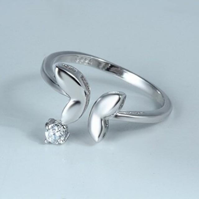 【米蘭精品】925純銀戒指鑲鑽銀飾(精緻小巧蝴蝶開口情人節生日禮物女飾品73dx18)