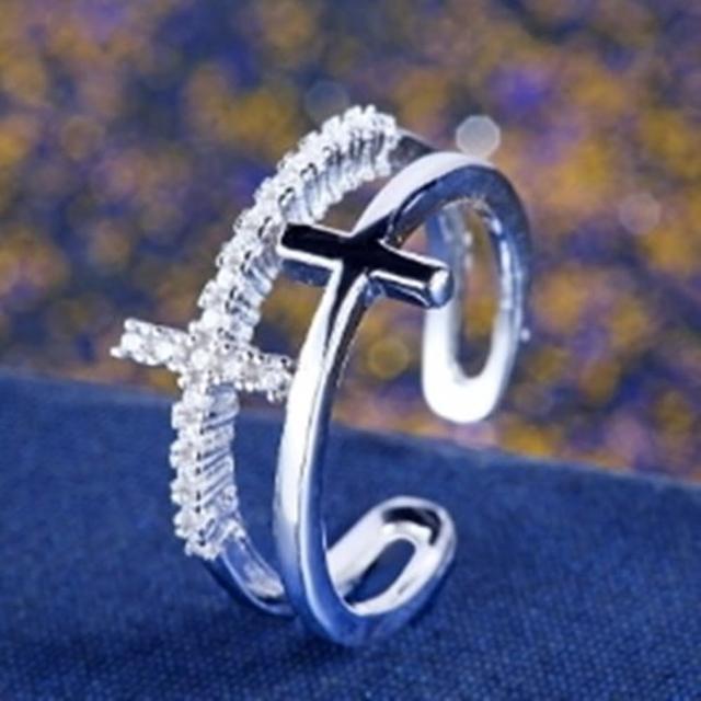 【米蘭精品】925純銀戒指鑲鑽銀飾(高貴典雅十字架造型情人節生日禮物女飾品73dx19)