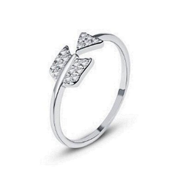 【米蘭精品】925純銀戒指鑲鑽銀飾(唯美耀眼愛神之箭情人節生日禮物女飾品73dx7)