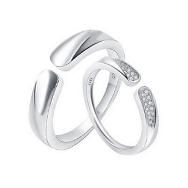 【米蘭精品】925純銀戒指鑲鑽銀飾單件(歐美簡約情侶款情人節生日禮物男女飾品73dx16)