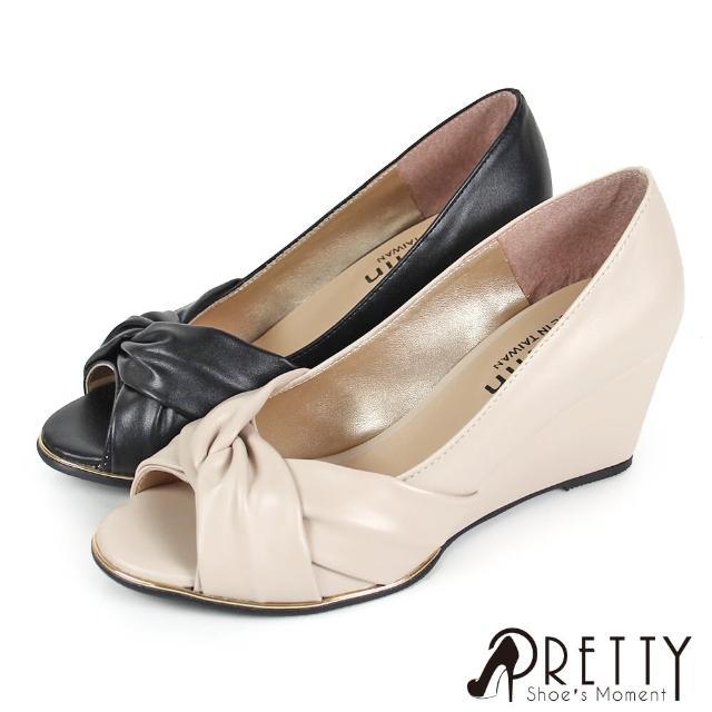 【Pretty】典雅交叉抓皺金屬邊楔型魚口鞋(米色、黑色)
