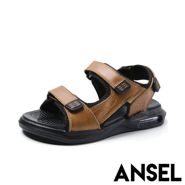 【ANSEL】真皮時尚百搭魔鬼粘舒適氣墊厚底沙灘涼鞋-男鞋(棕)