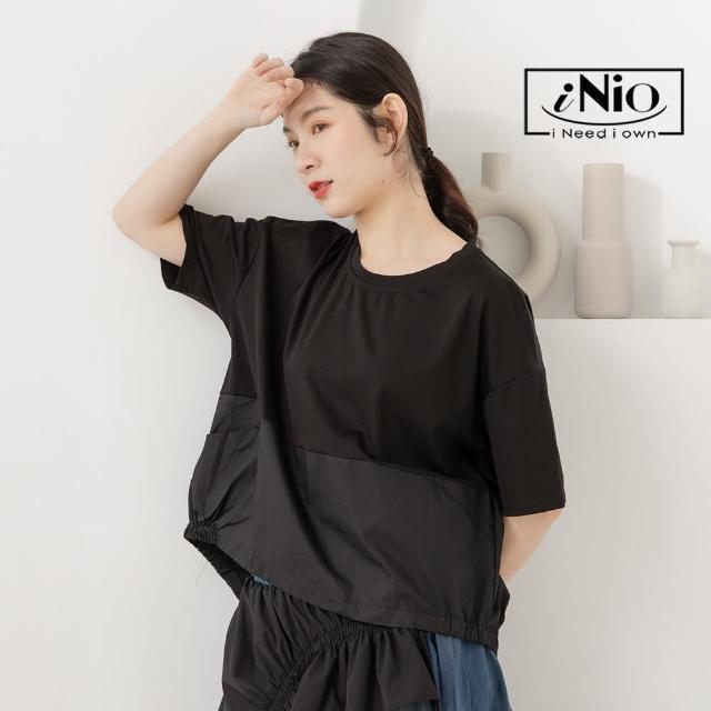 【iNio 衣著美學】簡約拼接 後背造型 短袖上衣(S-L適穿)-現貨快出C1W1231