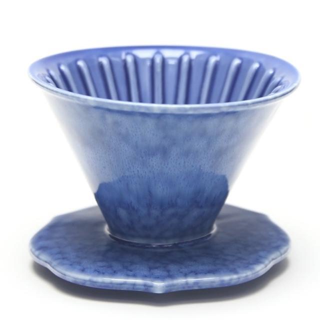 【MILA】手作燒陶自然釉咖啡濾杯02-天藍(台灣製造)