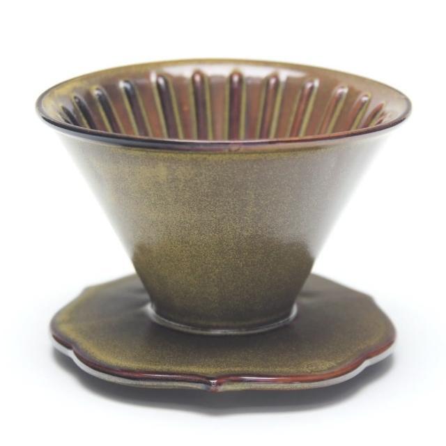 【MILA】手作燒陶自然釉咖啡濾杯02-茶墨(台灣製造)