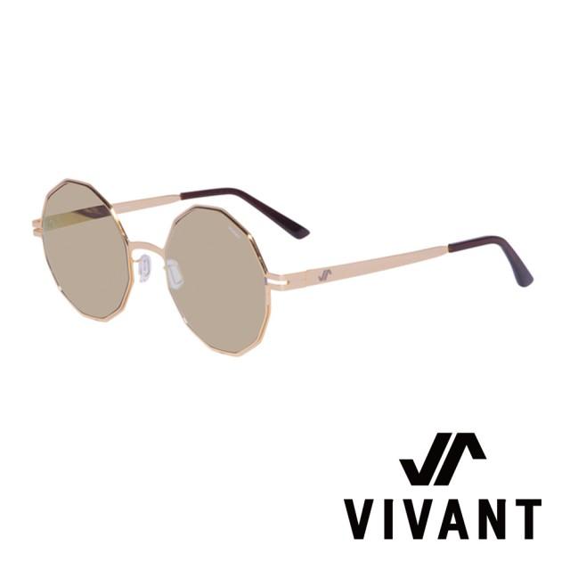 【VIVANT】韓國 精緻多邊形 鑽石太陽眼鏡(金 - diamant - C4)