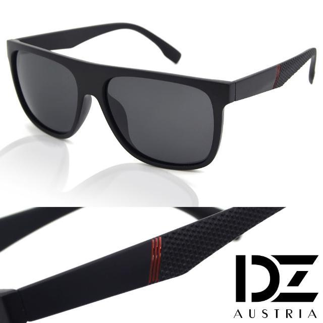 【DZ】UV400防曬偏光太陽眼鏡墨鏡-極簡紅斜紋點型(霧黑框灰片)