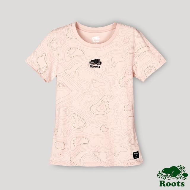 Roots【Roots】Roots女裝-開拓者系列 等高線元素海狸LOGO短袖T恤(桃粉色)
