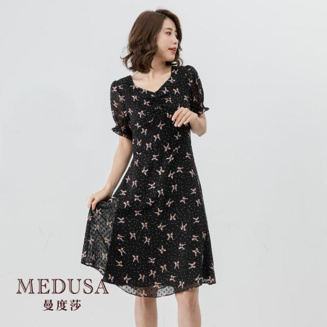 【MEDUSA 曼度莎】抽皺方領復古雪紡洋裝(M-2L)|上班族穿搭 職場穿搭|正式洋裝(601-34306)