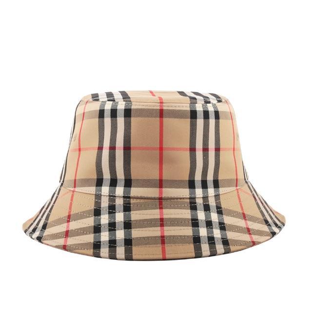【BURBERRY 巴寶莉】M號 Vintage 格紋科技布料棉質漁夫帽(典藏米色)
