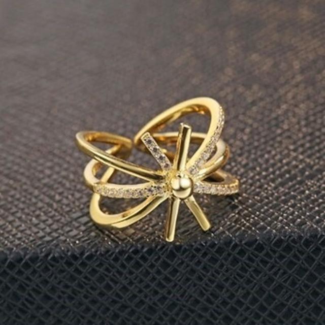 【米蘭精品】925純銀戒指鑲鑽銀飾(閃耀繽紛太陽設計情人節生日禮物女飾品73dx30)
