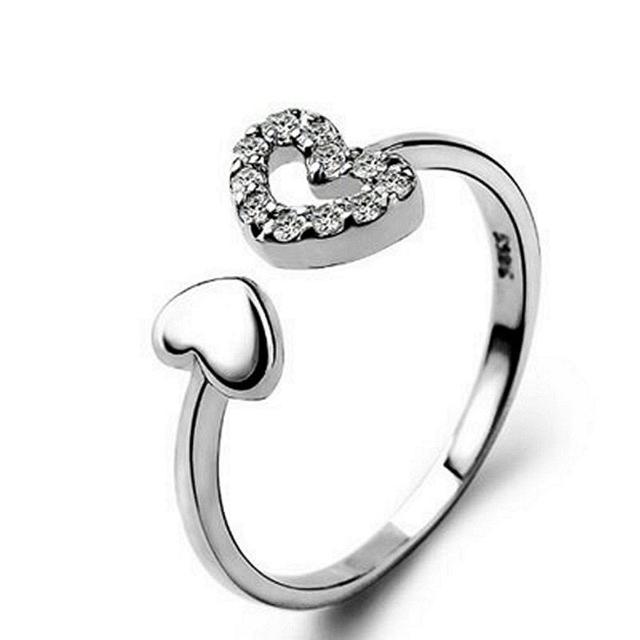 【米蘭精品】925純銀戒指鑲鑽銀飾(唯美氣質百搭心型情人節生日禮物女飾品73dx33)