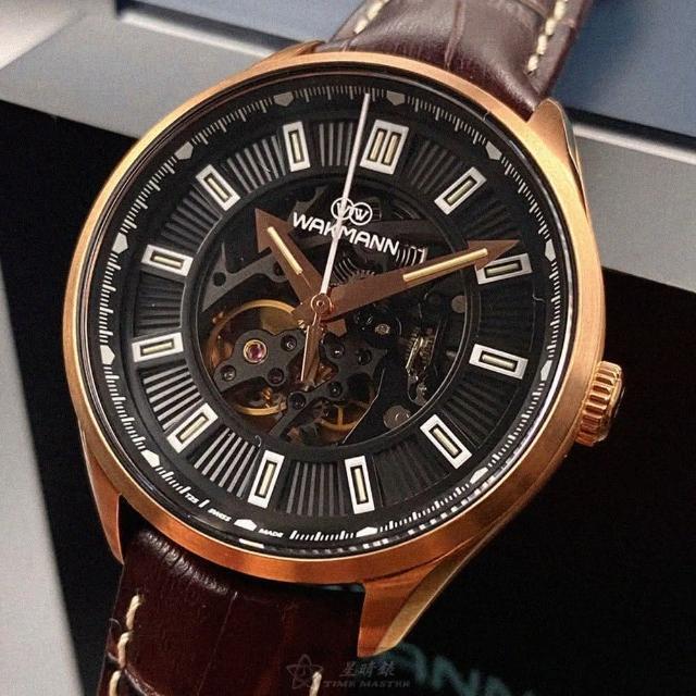 WAKMANN威克曼男女通用錶型號WA00002(黑雙面機械鏤空錶面玫瑰金錶殼咖啡色真皮皮革錶帶款)