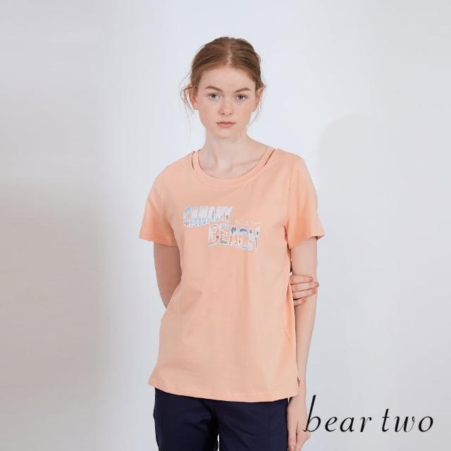 【bear two】海邊字母印花圓領T(兩色)