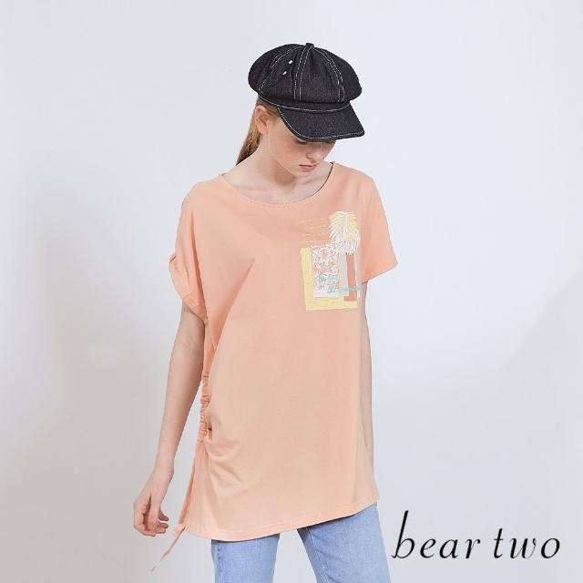 【bear two】不對稱袖設計印花圓領T(兩色)