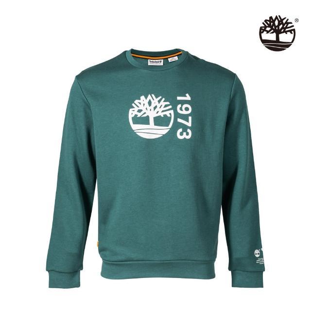 【Timberland】男款草綠色有機棉Re-Comfort EK+標誌大學T(A42YRJ74)