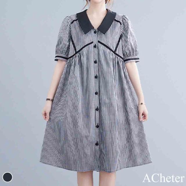 【ACheter】荷蘭風時尚拚色細格棉麻寬鬆洋裝#110042現貨+預購(格子)