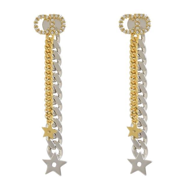 【Dior 迪奧】CD LOGO雙金銀鎖鍊星星流蘇垂墜長耳環(金)