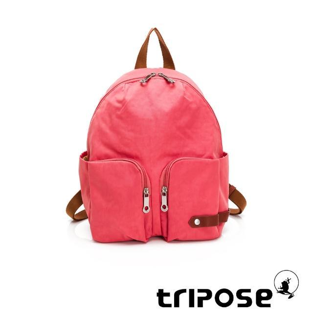 【tripose】CUBI微皺尼龍輕量後背包-小(晨曦紅)