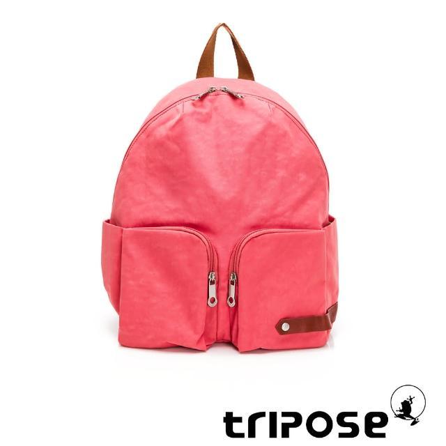 【tripose】CUBI微皺尼龍輕量後背包-大(晨曦紅)