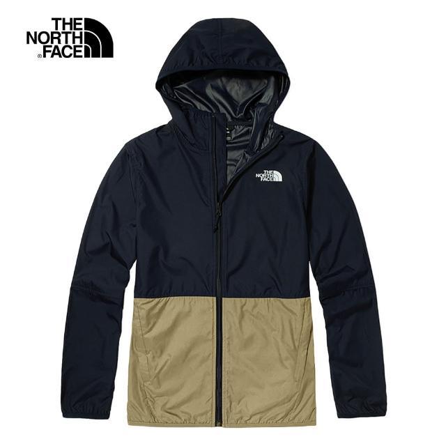 【The North Face】The North Face北面男款藍棕色拼接防潑水連帽外套|4NEF10N