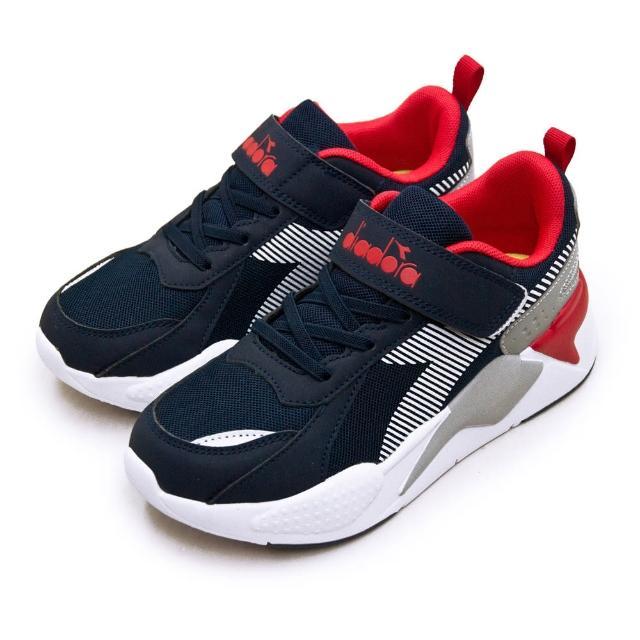 【DIADORA】大童 迪亞多那 22cm-24.5cm 輕量超寬楦避震慢跑鞋 科技老爹鞋系列(藍紅灰 11021)
