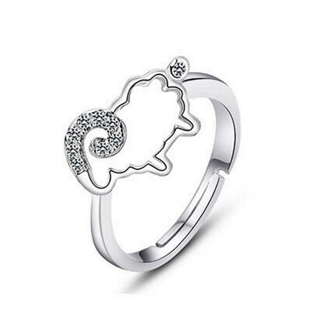 【米蘭精品】925純銀戒指鑲鑽銀飾(小巧可愛羊咩咩造型情人節生日禮物女飾品73dx38)