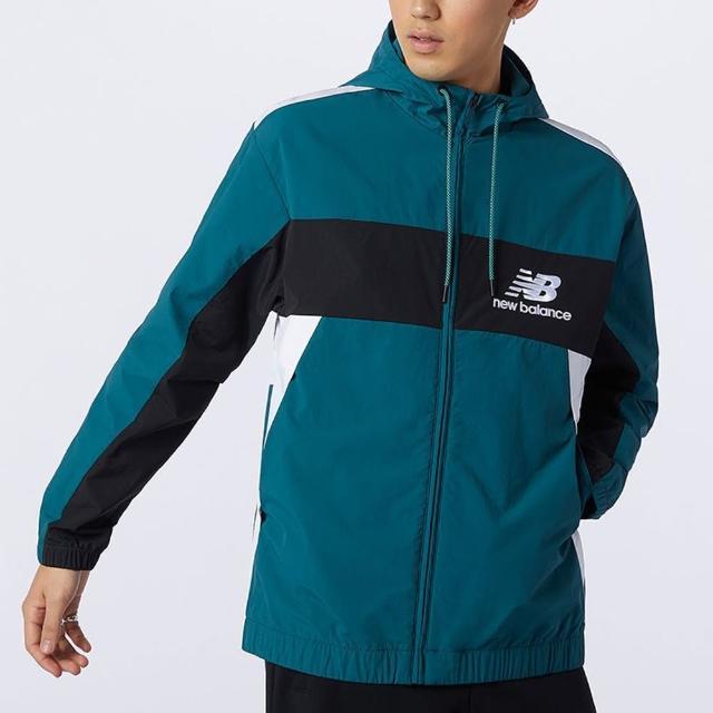 【NEW BALANCE】NB 外套 男款 連帽運動外套 風衣 綠 AMJ13500MTL