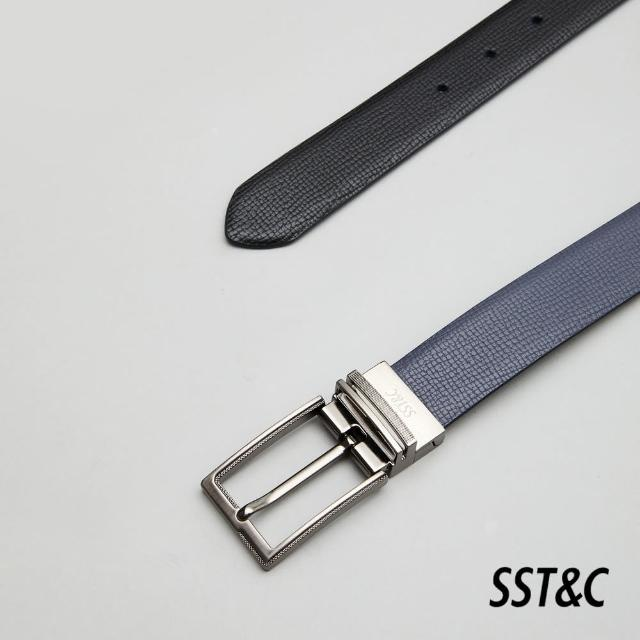 【SST&C】深灰&黑色後轉針釦皮帶1712105002