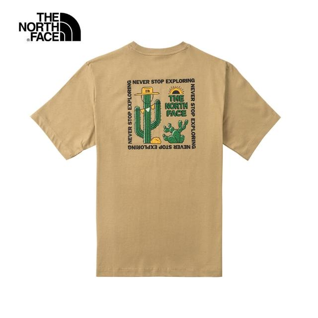 【The North Face】The North Face北面男款卡其色背部仙人掌特色印花圓領短袖T恤|7QTDPLX