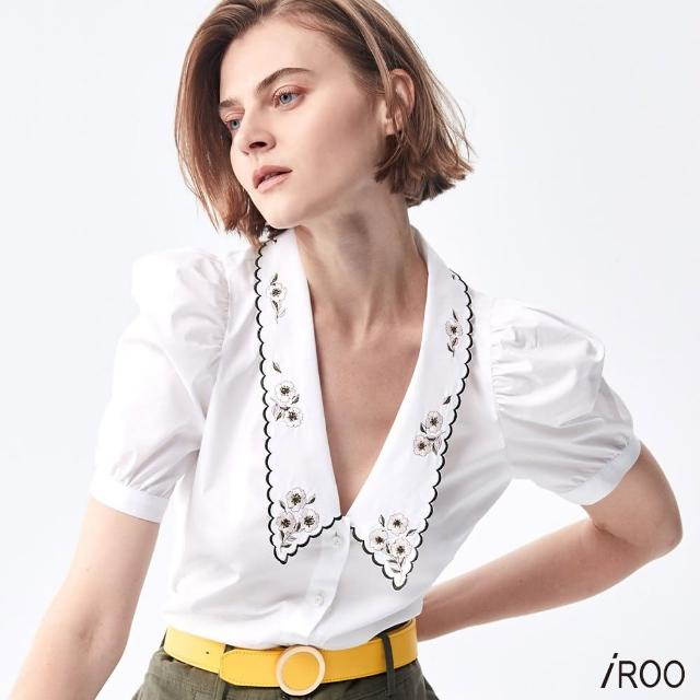 【iROO】V領刺繡拋袖襯衫