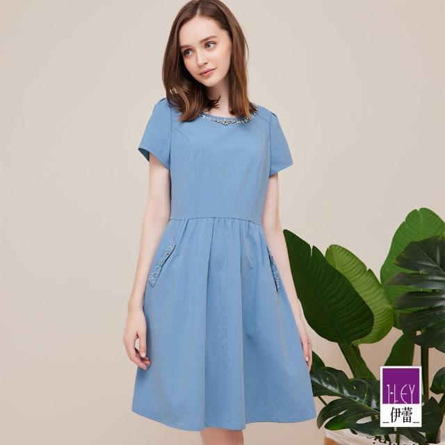 【ILEY 伊蕾】知性迷人水鑽造型口袋洋裝1212037035(淺藍)