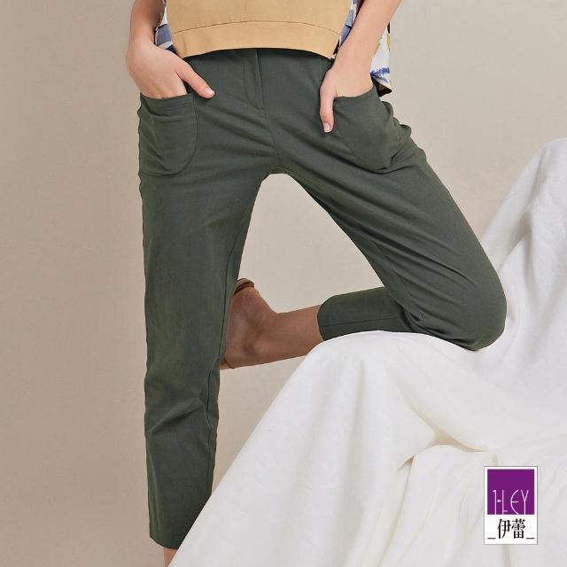 【ILEY 伊蕾】率性微工裝大口袋直筒長褲1212016364(綠)