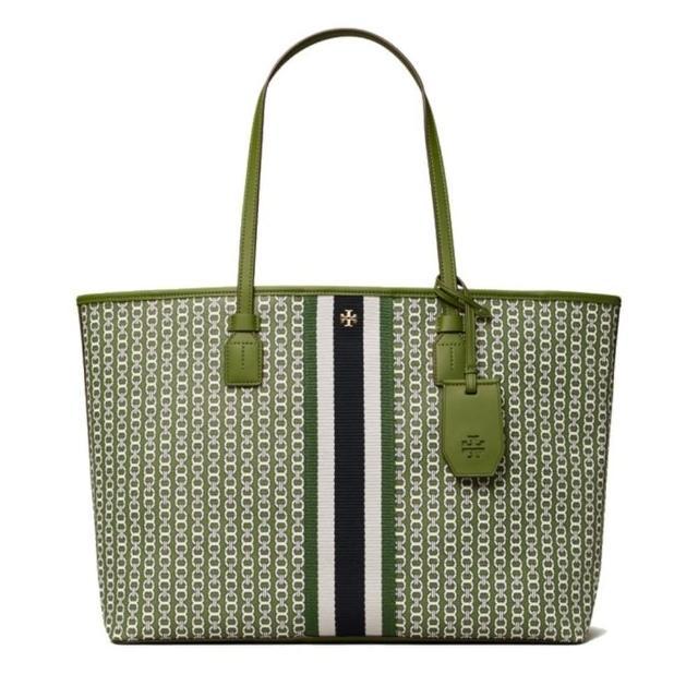 【TORY BURCH】GEMINI LINK 帆布托特包 手提包 / 側肩包(綠色)