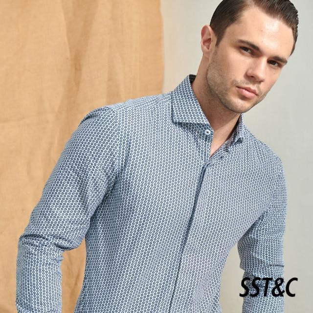 【SST&C】幾何滿版印花修身款長袖襯衫0312105005