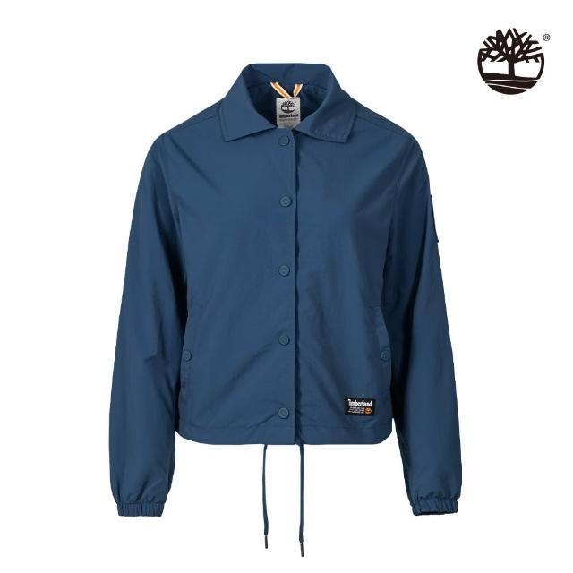 【Timberland】女款藍色工裝教練外套(A2GEFBZ4)