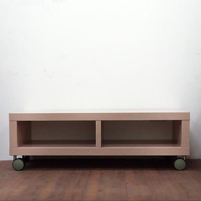 【職人家居】可移動滾輪電視櫃120cm原色雙格款-1094(#電視櫃 #置物櫃 #木質收納櫃)