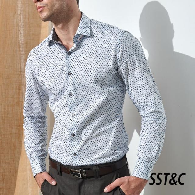 【SST&C】藍底咖色印花經典款長袖襯衫0312105007